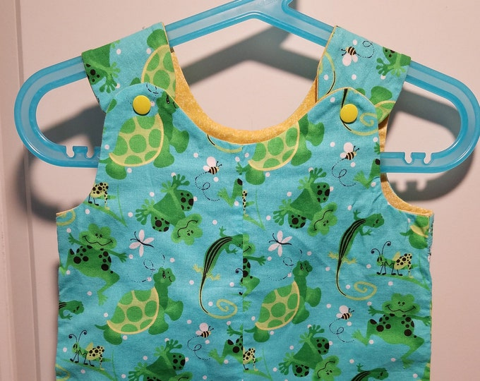 Short Overalls for Infants and Toddlers choice of two colors Lizard, turtle and frog  Newborn, 3m, 6m, 9m, 12m 1T 2T