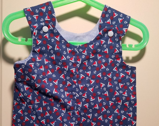 Short Overalls for Infants and Toddlers Nautical themed boats in Blue or Red newborn, 3m, 6m, 9m, 12m 1T 2T