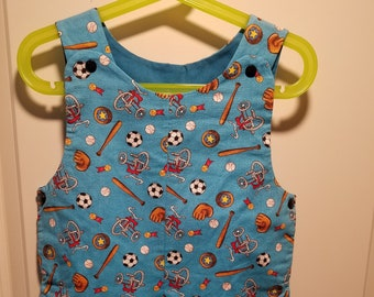 Short Overalls for Infants and Toddlers toys on a blue or green background 1T and 2T