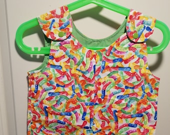 Clearance Short Overalls Size Infant 9-12 Months Gummy worm print sunfaded shoulders