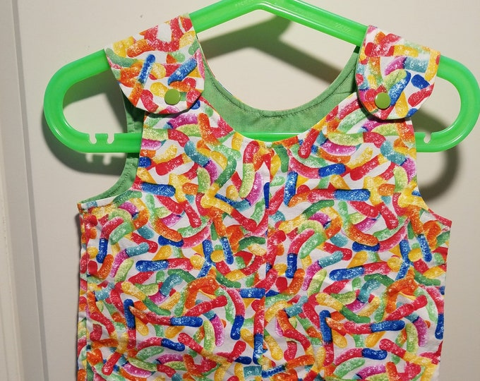 Clearance Short Overalls Size Infant 6-9 Months, 9-12 Months and 1T Gummy worm print sunfaded shoulders