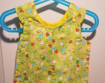 Short Overalls for infant and toddler underwater fish nautical print in blue, green or pink newborn, 3m, 6m, 9m, 12m 1T 2T