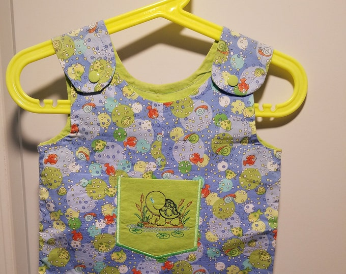 Clearance Short Overalls Blue fish print Size Infant 3-6 Months sunfaded shoulders