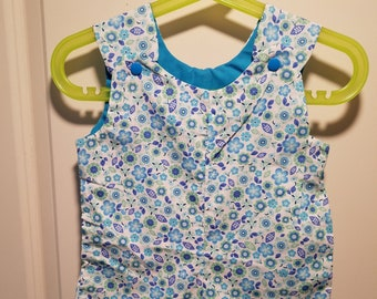 Clearance Short Overalls Aqua and green daisies Size Infant 6-9 and 9-12 Months