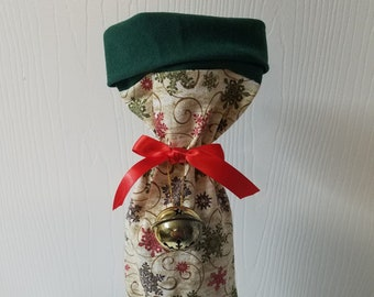 Ready to ship Red and green swirling snowflake Christmas wine bottle gift bag 20 available
