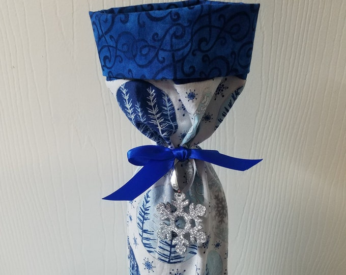Ready to ship Blue and silver winter scenes and snowflakes Christmas wine bottle bags 20 available