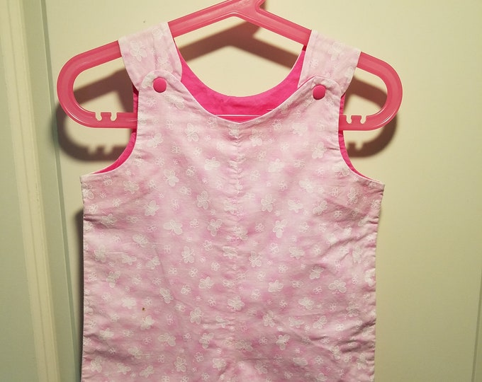 Clearance Short Overalls pink and white butterfly Size Infant 9-12 Months sunfaded shoulders