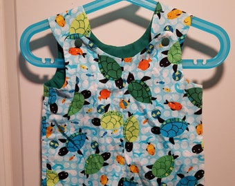 Short Overalls for Infants and Toddlers in Sea turtles and fish prints newborn, 3m, 6m, 9m, 12m, 1T, 2T