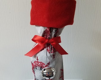 Ready to ship Red or Green and Silver snowflake Christmas wine bottle gift bag