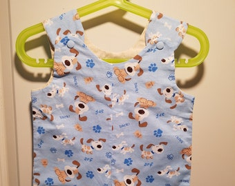 Short Overalls for Infants and Toddlers Dogs on blue background newborn, 3m, 6m, 9m, 12m 1T 2T