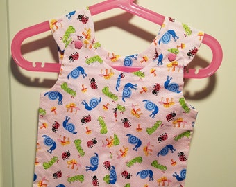 Short Overalls garden bug print in blue, green or pink newborn, 3m, 6m, and 9m