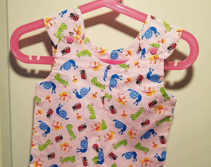 Short Overalls for infant and toddler garden bug print in blue, green or pink newborn, 3m, 6m, and 9m