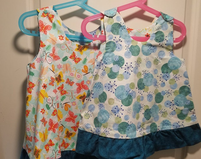 Reversible Dress, jumper, sundress, pinafore butterfly, atoms and dots with teal ruffle