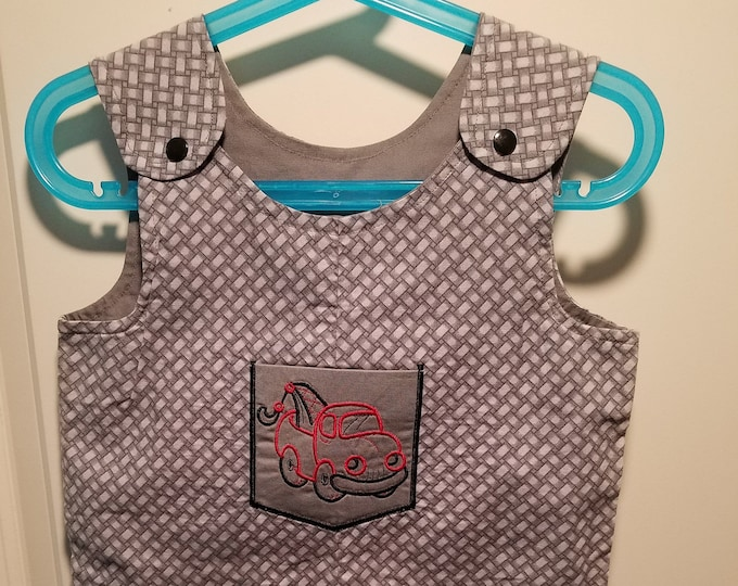 Clearance Short Overalls Size 9-12 Months and 2T Tow Truck Short overalls