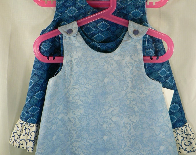 Reversible a-line Dress, Sundress, Jumper, Pinafore Infant, Toddler and Girls Sizes Blue Sunburst with ruffle