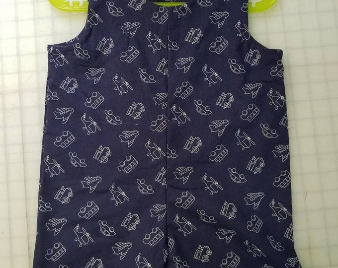 Short Overalls for Infants and toddlers planes, trains, helicopters and cars on a navy blue background newborn, 3m, 6m, 9m, 12m 1T 2T