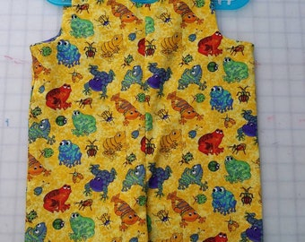 Short Overalls for Infants and Toddlers Bright tropical frogs on yellow background newborn, 3m, 6m, 9m, 12m 1T 2T