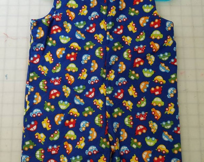 Short Overalls for Infants and toddlers Bright color cars on a royal blue background newborn, 3m, 6m, 9m, 12m 1T 2T
