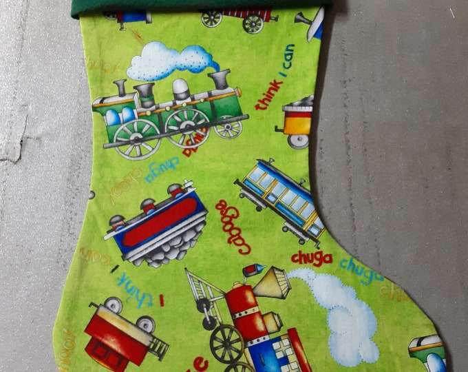 """Christmas Stockings Trains and I Think I Can 15"""" with red velvet, green faux suede or white faux suede cuff"""