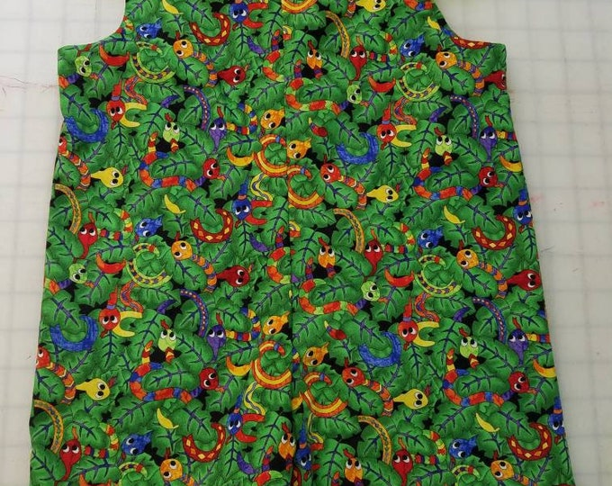 Short Overalls for Infants and Toddlers tropical snakes on a background of green leaves newborn, 3m, 6m, 9m, 12m 1T 2T