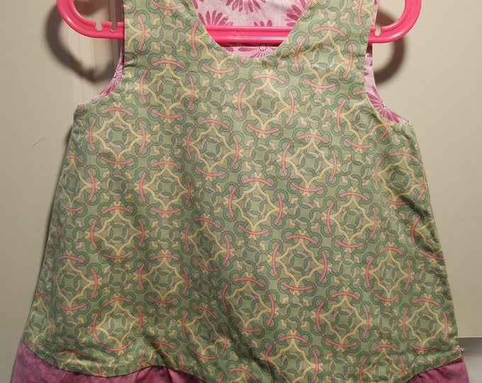 Reversible Dress, jumper, sundress, pinafore pink daisy and geometric print with pink ruffle