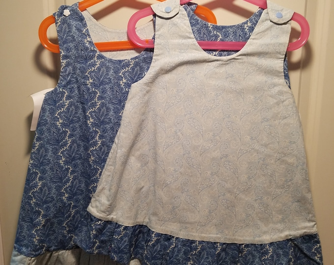 Clearance last ones reversible 1T and 4T blue paisley with reverse ruffle