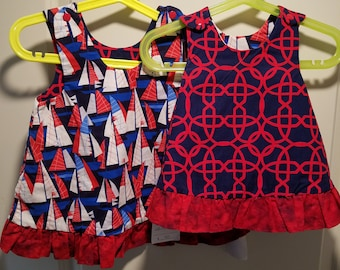 Reversible Dress, jumper, sundress, pinafore sizes newborn to girls 6 in Navy and Red Wicker and Sailboats  with ruffle