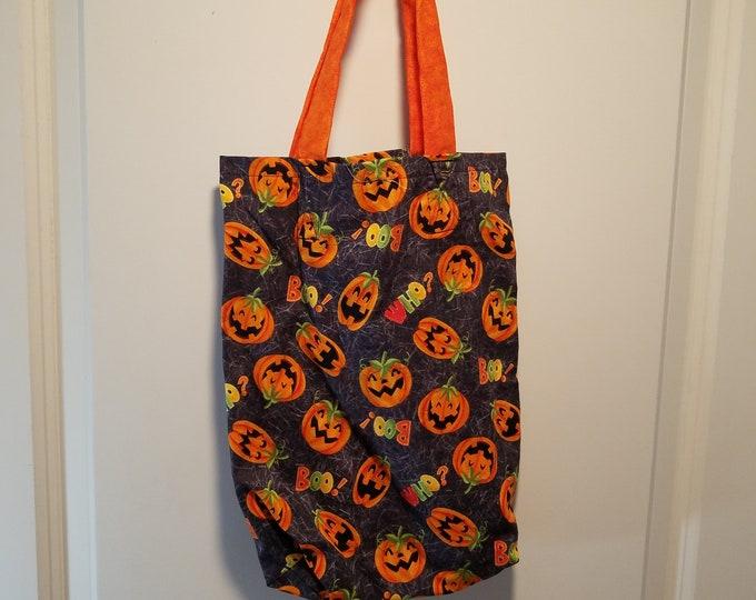 "Jack-o-Lantern and Boo! washable reusable Trick or Treat tote Bag 10"" x 13"""
