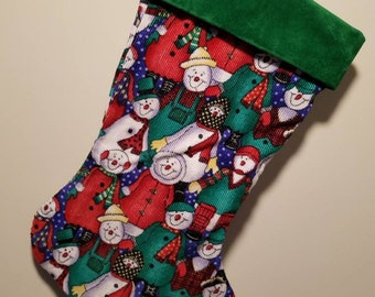 Christmas Stockings Corduroy Snowman one of a kind in size 15""