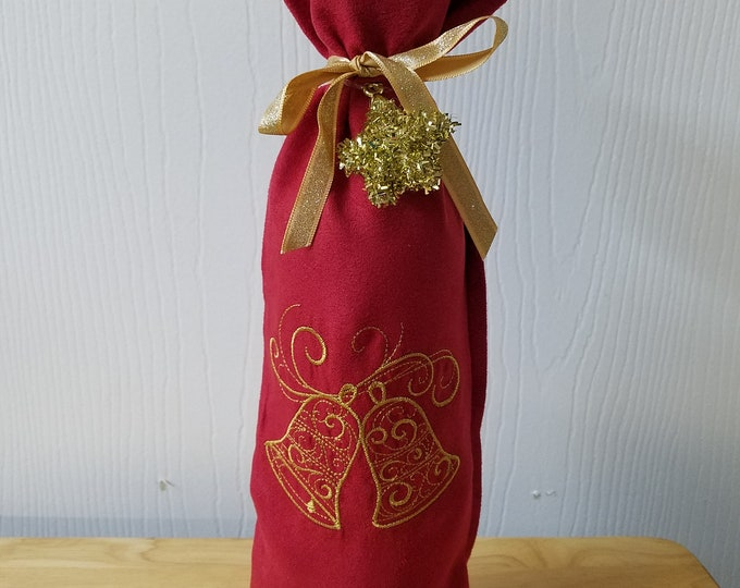 Red Faux Suede with Embroidery Christmas Wine bottle gift bag with pre tied bow and ornament