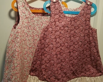 Reversible Dress, jumper, sundress, pinafore Toddler and Kids pink sunburst and pink butterfly with tan ruffle