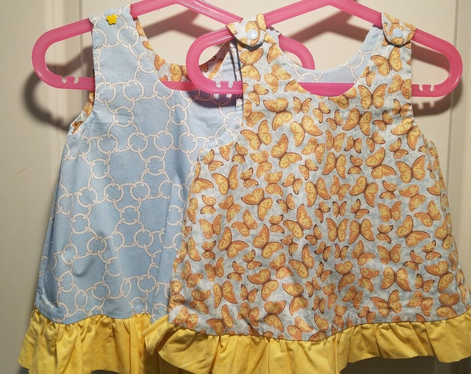 Reversible Dress, jumper, sundress, pinafore blue chain link and yellow butterfly with yellow ruffle