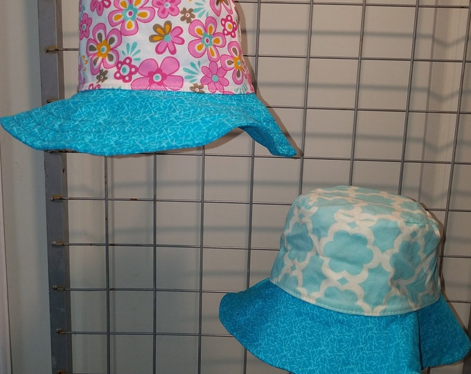 Reversbile bucket Hat aqua and white and retro daisy with dark aqua brim