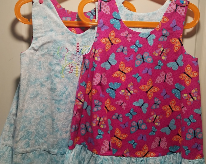 Reversible Sundress, Jumpers, pinafore, Carousel horse and pink butterfly with aqua swirl ruffle