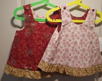 Reversible burgundy and tan paisley with gold swirled ruffle