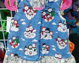 Reversible Christmas Winter Dress Size 5 Snowman and Snowflakes with ruffle