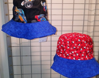 Reversible Infants size 19 and 20 inch Monster Truck hats