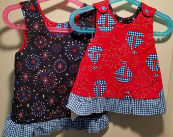 Reversible Dress, jumper, sundress, pinafore Toddler and Kids sizes nautical gingham sailboats and smiling sun with gingham  blue ruffle