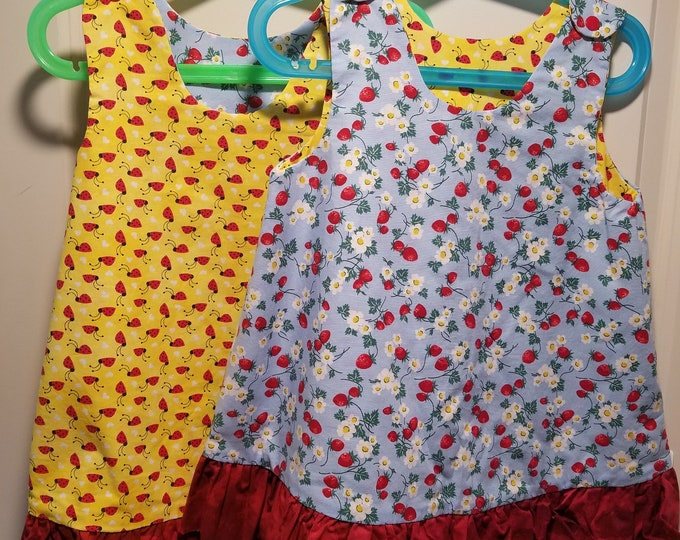 Reversible Dress, jumper, sundress, pinafore Kids sizes Stawberry plants and assorted yellow prints with red ruffle