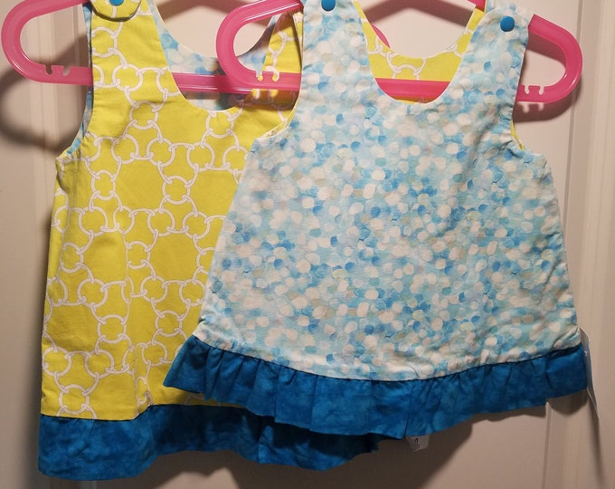 Reversible Dress, jumper, sundress, pinafore yellow chain link and aqua dots with teal ruffle