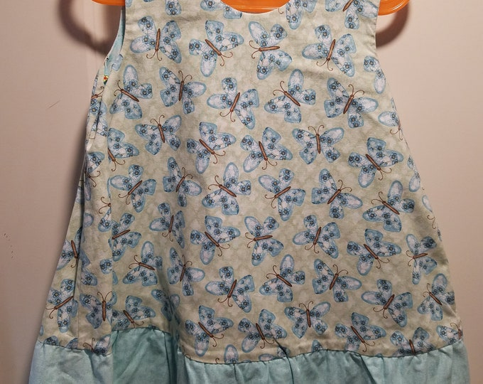 Reversible Sundress, Jumpers, pinafore, Butterfly and dragonfly with aqua ruffle