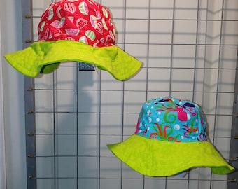 Reversible Sun Hat for baby and Kids Watermelon print hat with either cute bugs or colorful octopus and a bright green brim