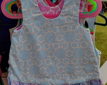 Reversible Dress, jumper, sundress, pinafore Toddler and Kids blue and pink chain-link  with blue and pink marbled  ruffle