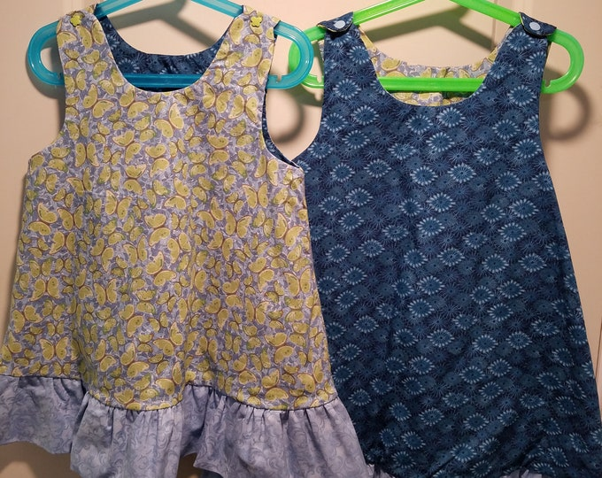 Reversible Dress, jumper, sundress, pinafore Toddler and Kids sizes Blue sunburst and butterflies with blue ruffle