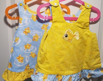 Reversible Jumper, Sundress, Dress, Pinafore Infant sizes jumping goldfish