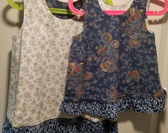Reversible Dress, jumper, sundress, pinafore Blue paisley with blue swirl ruffle