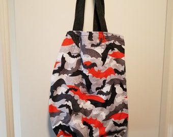 "Orange, Black and Grey Bats with orange or black handle reusable washable Trick or Treat tote Bag 10"" x 13"""