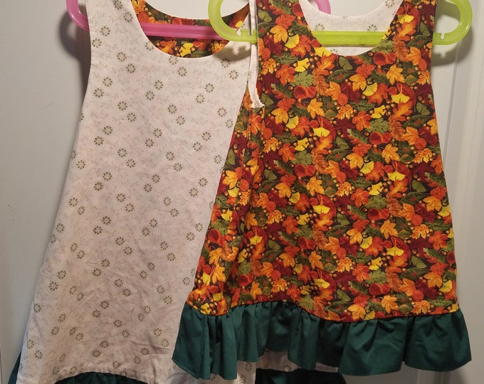 Reversible Dress, jumper, sundress, pinafore Fall foiliage and green snowflakes with green ruffle