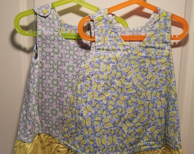 Reversible Dress, jumper, sundress, pinafore Green butterfly and green geometric print with apple green ruffle