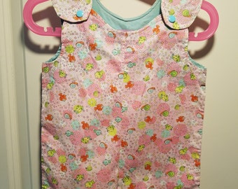 Clearance Short Overalls Pink Fish print Size Infant 6-9 Months sunfaded shoulders